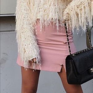 Maccs the Label blush pink mini skirt with buttons